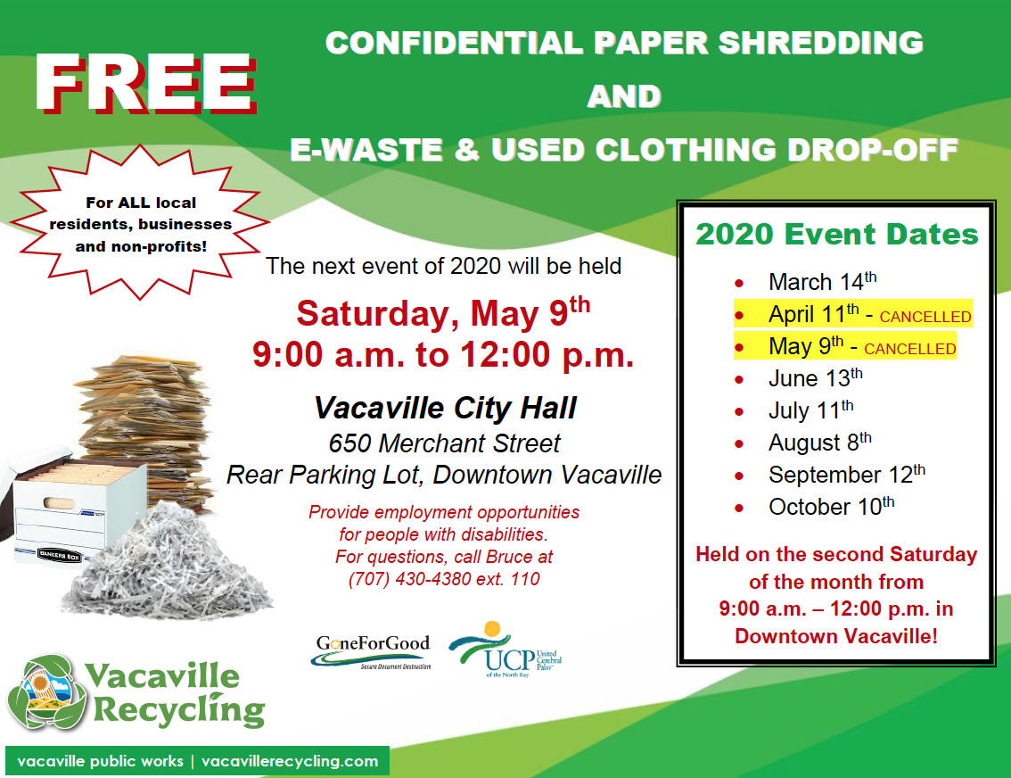 Free Paper Shredding Events Are Back Vacaville Recycling
