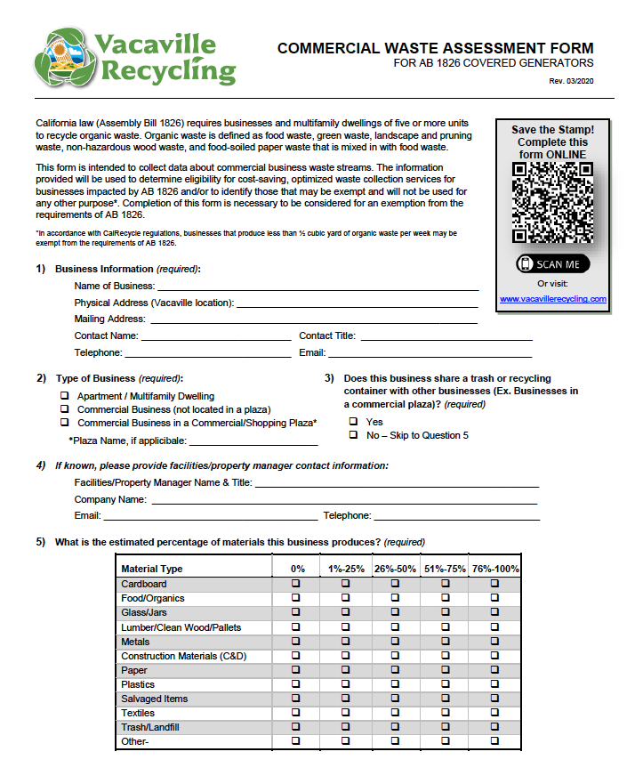 Vacaville Waste Assessment Form